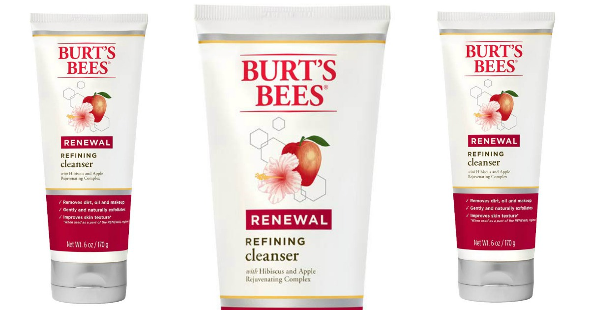 bottles of burts bees hibiscus apple renewal facewash and cleanser