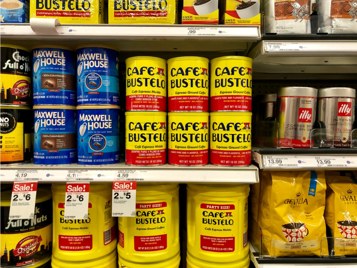 shelves filled with coffee including cafe bustelo cans