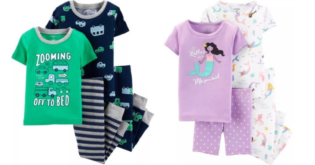 kids pajamas with vehicles and pajamas with mermaids