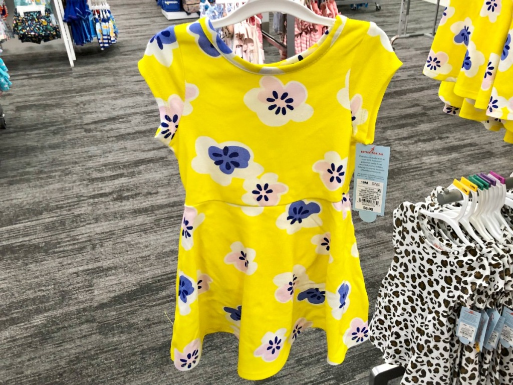 yellow toddler girl dress with blue flower