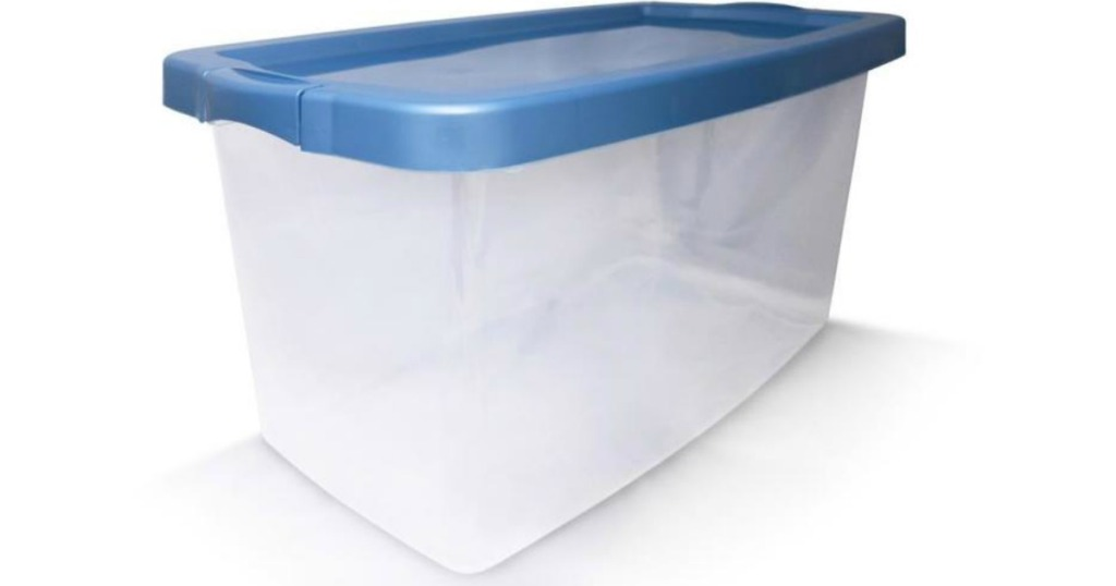 clear storage tote with blue lid