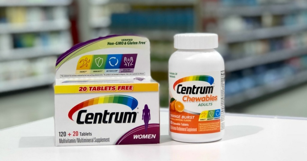 two boxes of vitamins on shelf