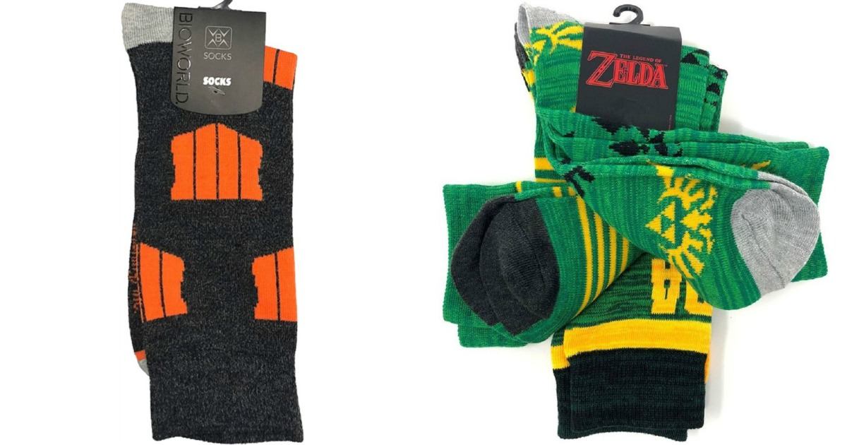 Call of Duty socks and green Zelda socks