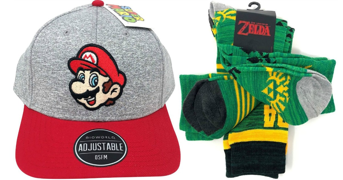 gray cap with mario character next to zelda green socks