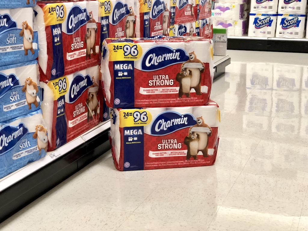 Two Packages Charmin Ultra Strong stacked on top of each other in the aisle at Target