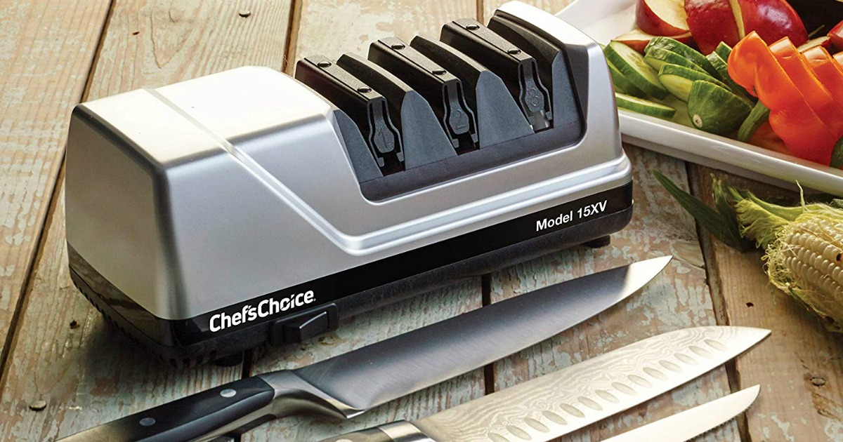 chef's choice knife sharpener on table with knives and plate of veggies also on table