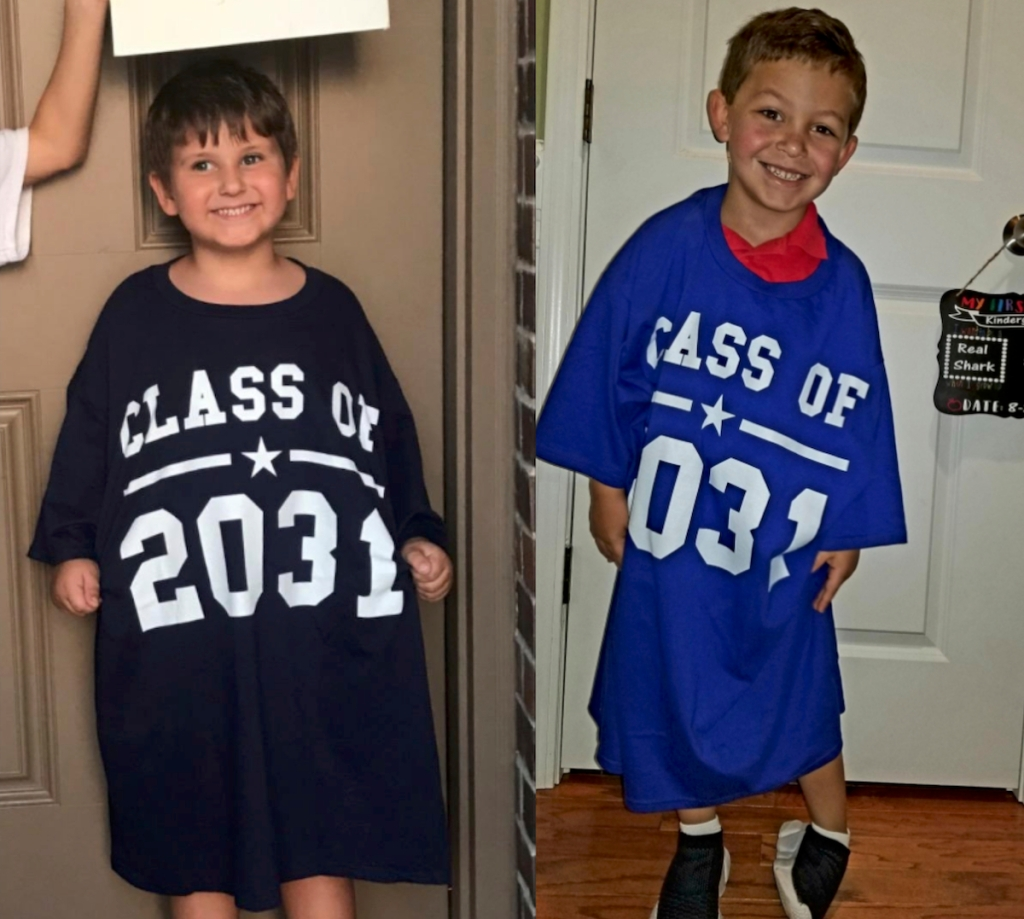 two boys wearing blue class of 2031 shirts