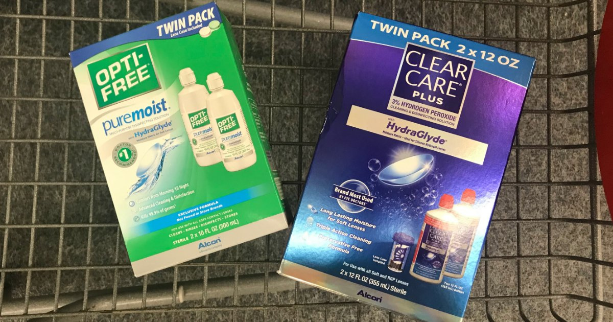 clear care and opti free boxes in cart
