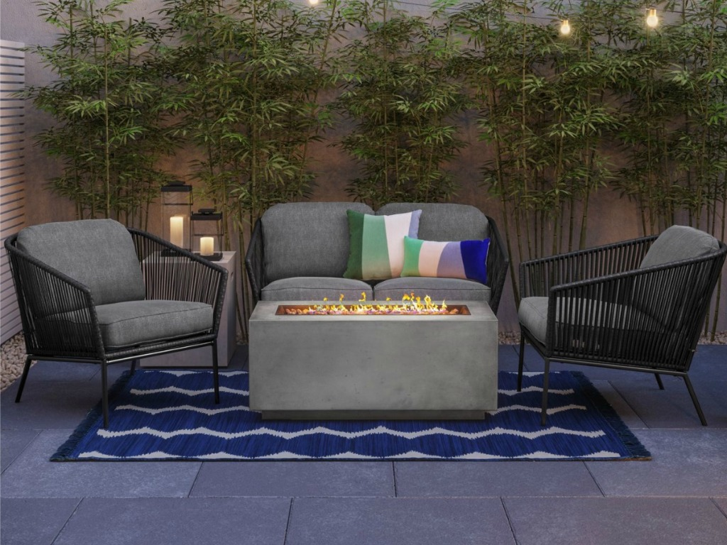 patio seating set in evening light