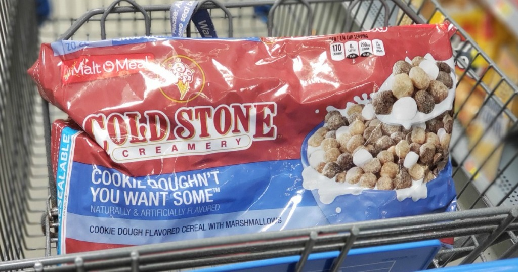large bag of cold stone creamery cookie dough cereal in cart
