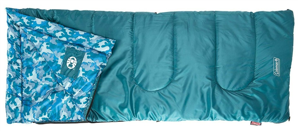 blue patterned sleeping bag