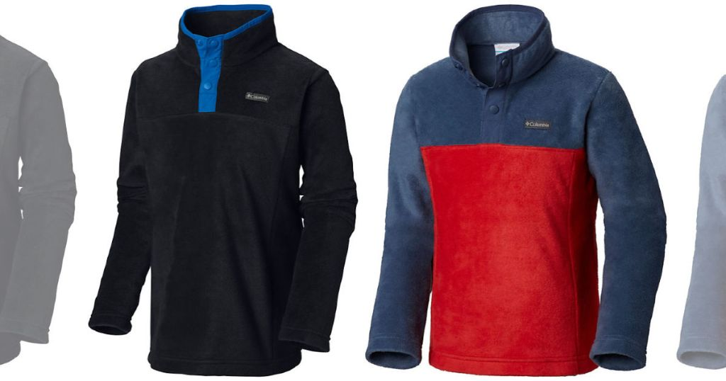 blue and black or red and blue Columbia Boys Flattop Ridge Half Snap Fleece