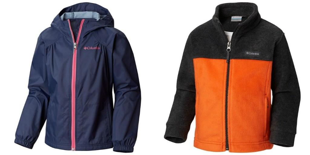 Columbia girls navy rain jacket and boys orange and black jacket