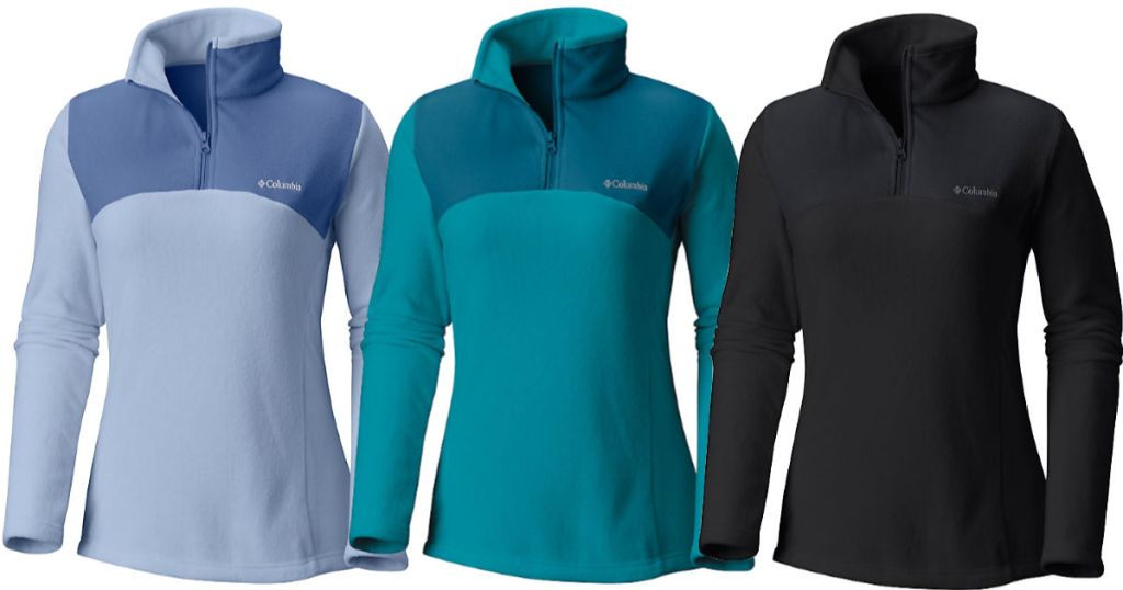 black, lagoon teal, faded sky blue columbia Women's Western Ridge Half Zip