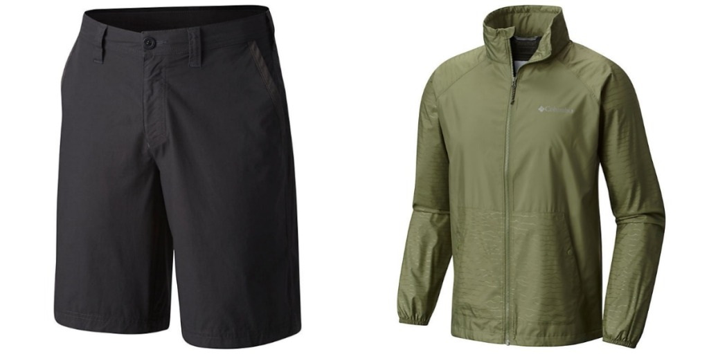 Columbia men's black shorts and green windbreaker