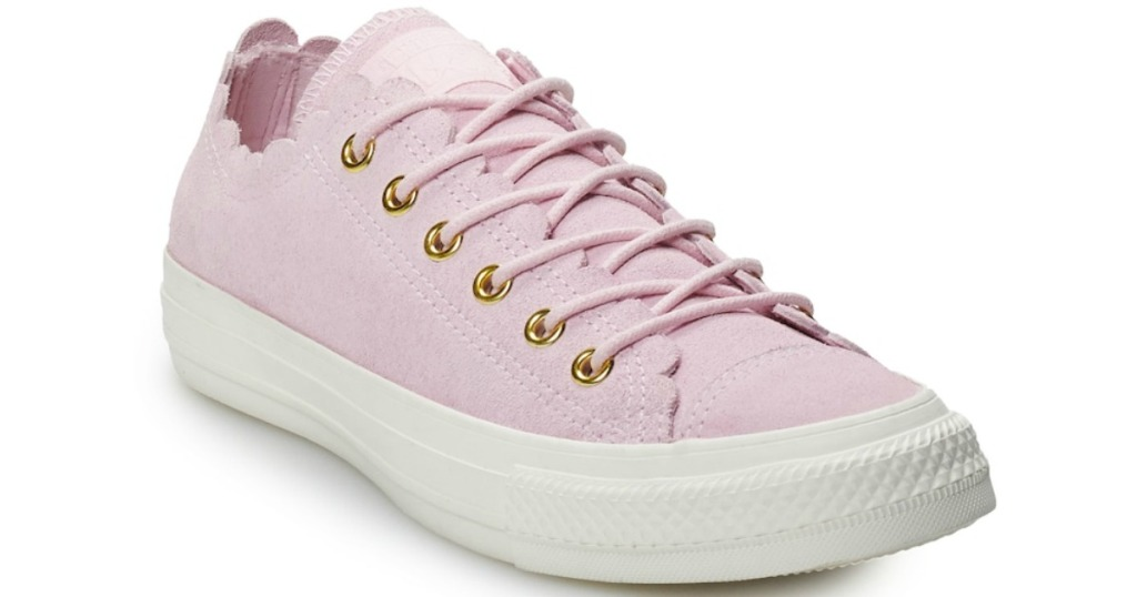 pink converse sneakers with scalloped edges