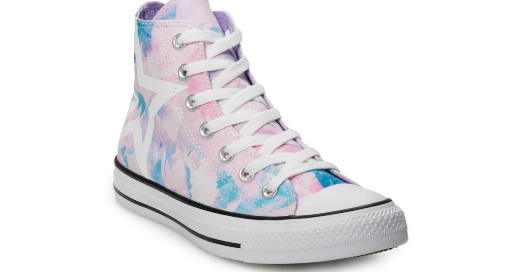 all star converse high tops in pink and blue tie dye