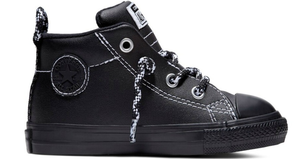 black leather converse mid-high tops
