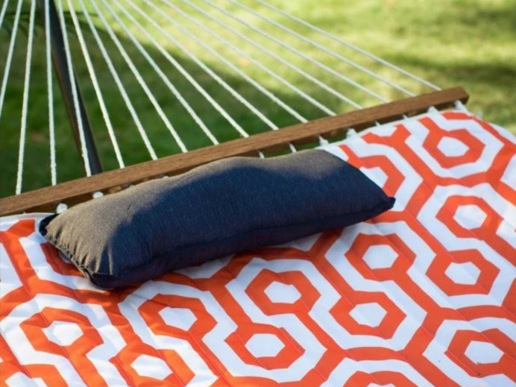 close up of rope and pillow for hammock