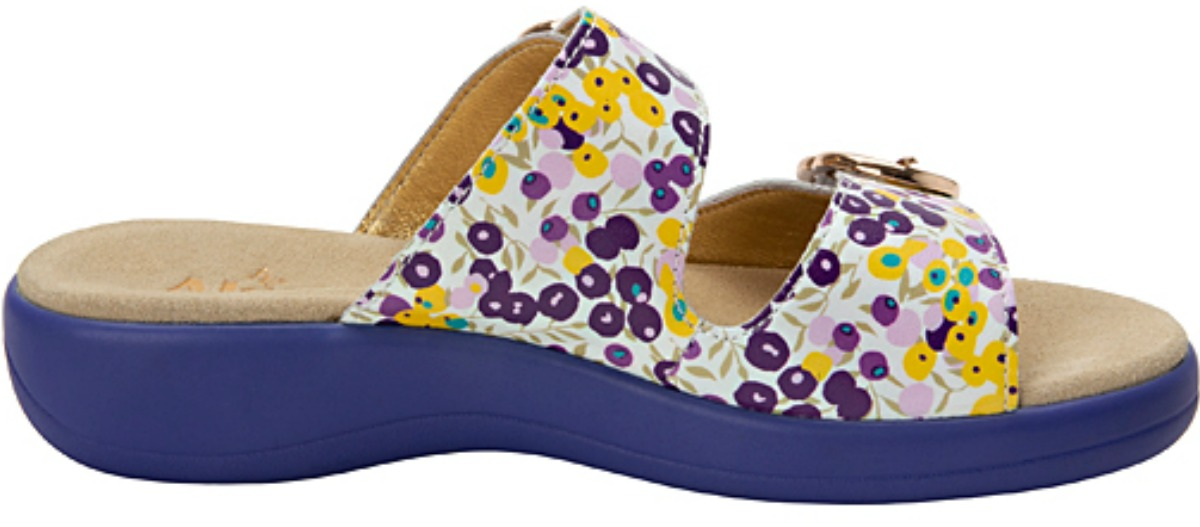 purple pink and yellow dotted sandals with purple heal