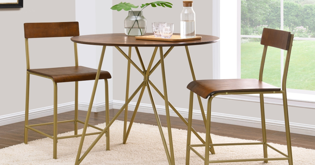 Counter Height Dining set, wooden round table and chairs with golden legs