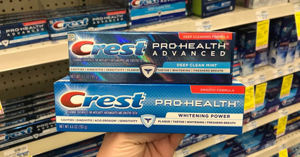 hand holding Crest Pro-Health Toothpaste at CVS