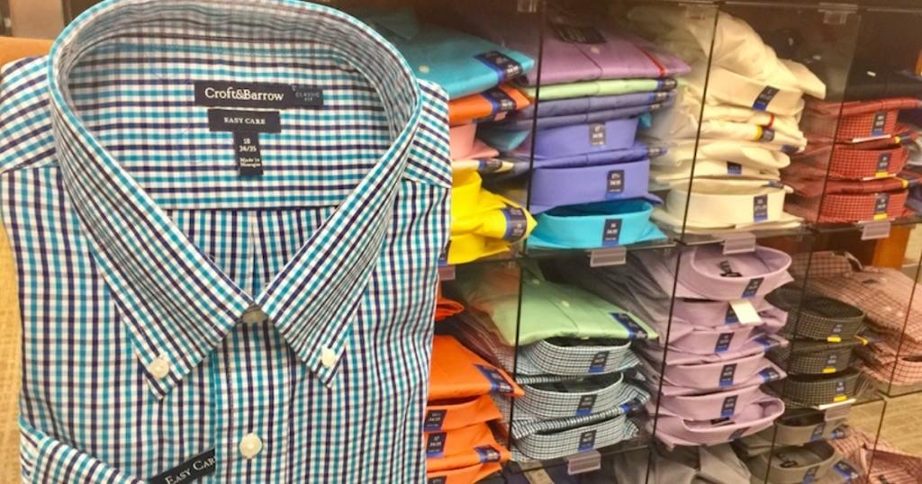 Men's Croft & Barrow Classic-Fit Easy Care Button-Down Dress Shirts on display at Kohl's