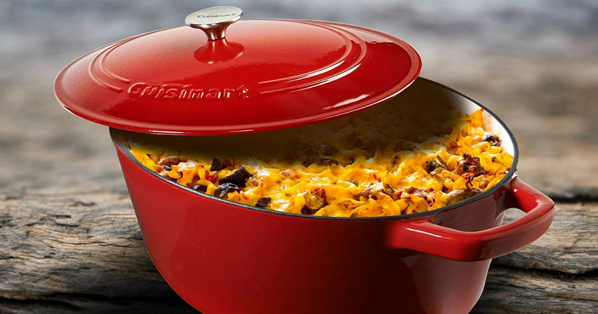 cast iron pan with casserole in it