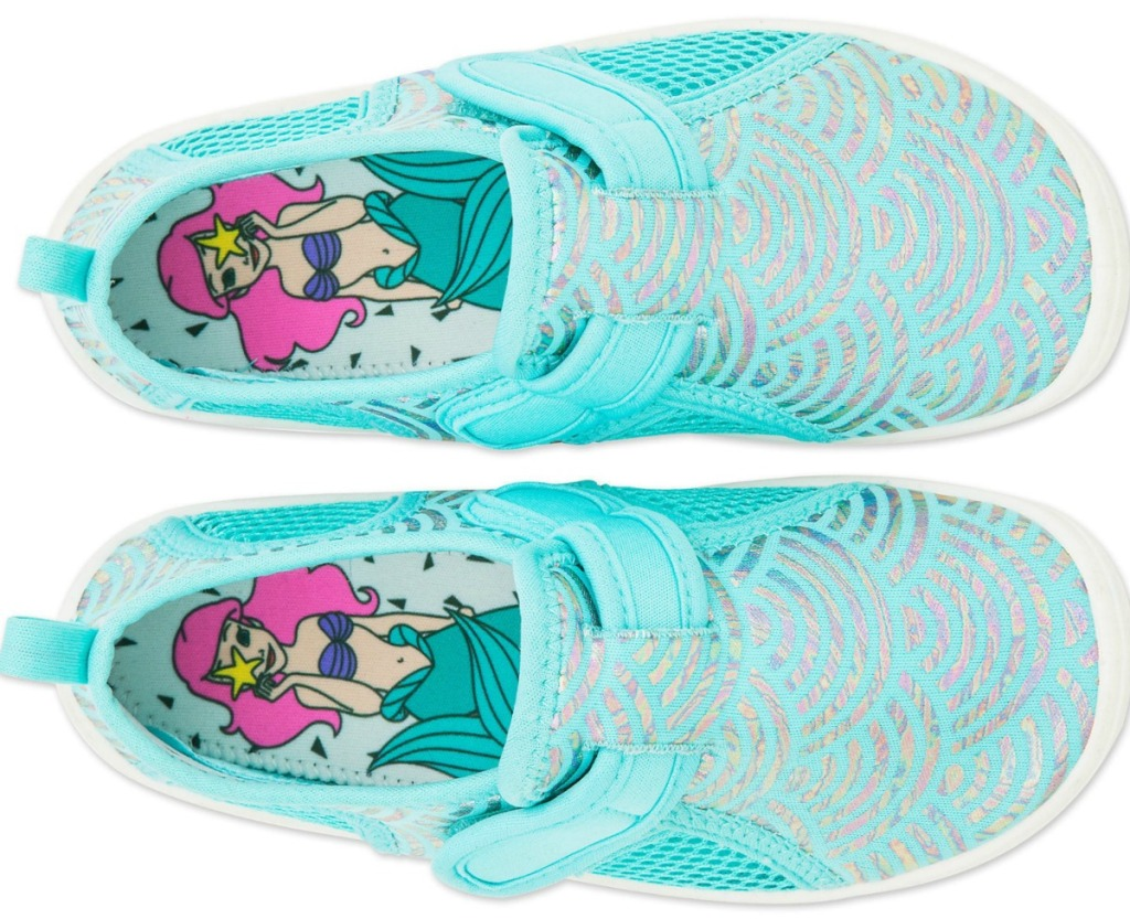 Pair of teal girls shoes with Disney's Ariel