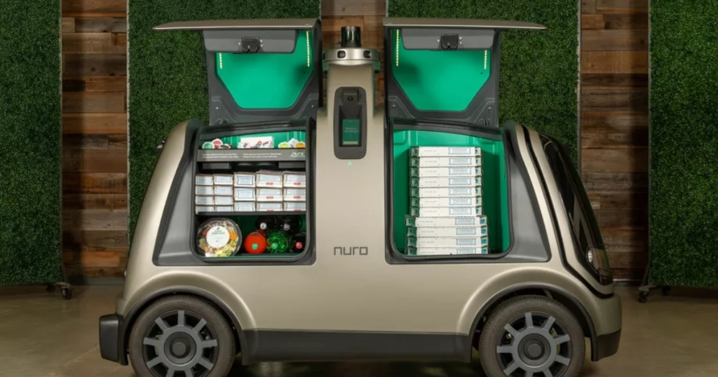 Driverless Nuro car delivering Domino's Pizza