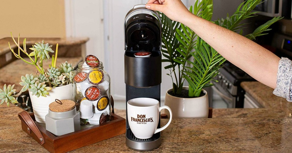 Don Francisco's Coffee pods in coffeemaker