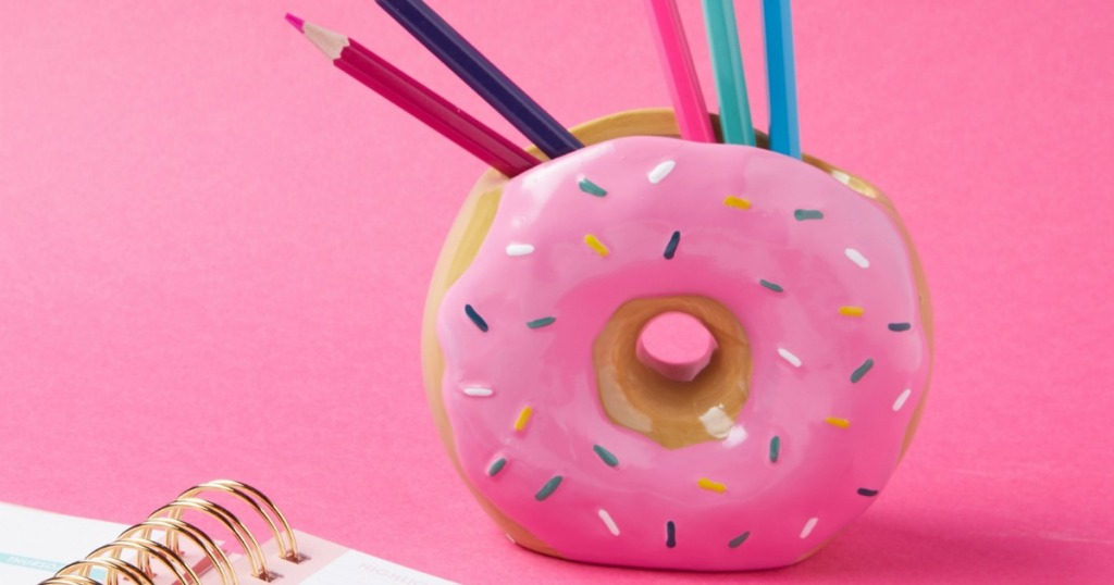 Donut pen holder with colored pencils