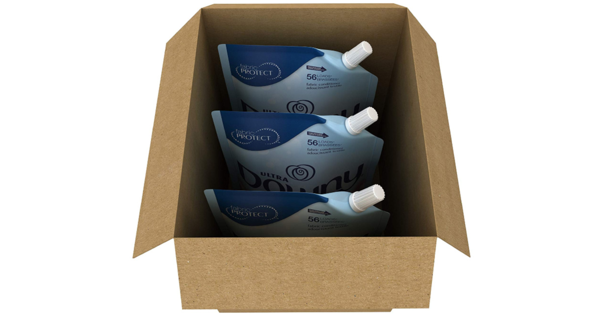 three downy pouches in a box
