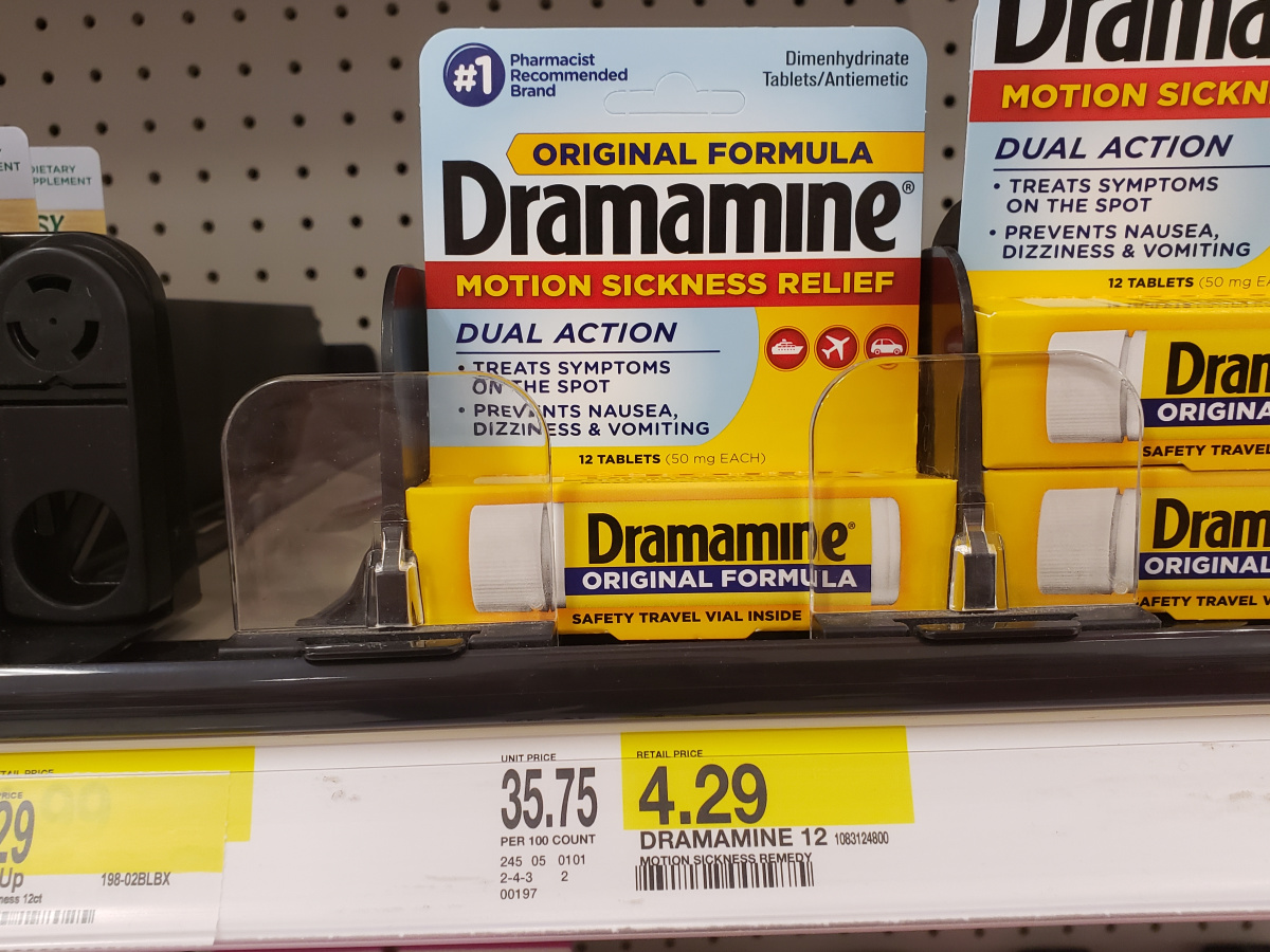 Dramamine on shelf at Target