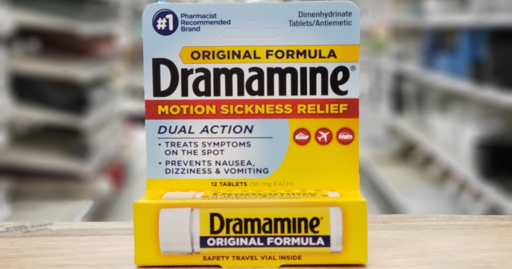 original dramamine box on wood shelf atTarget