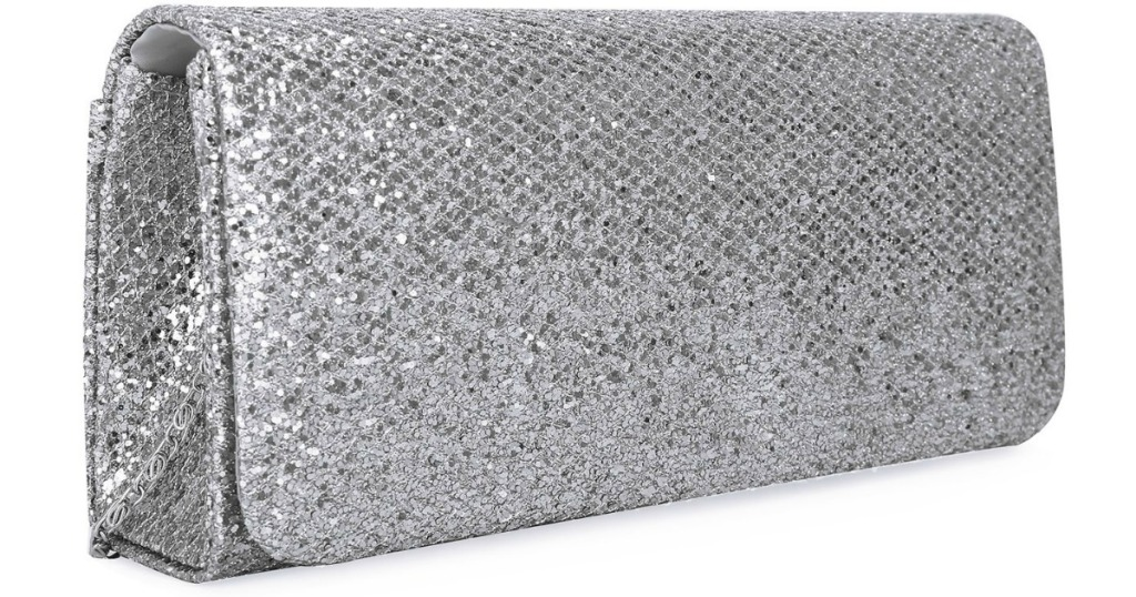 shiny silver women's clutch