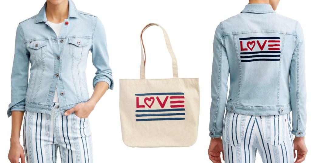 Woman wearing EV1 from Ellen DeGeneres Love Flag Bleached Denim Jacket
