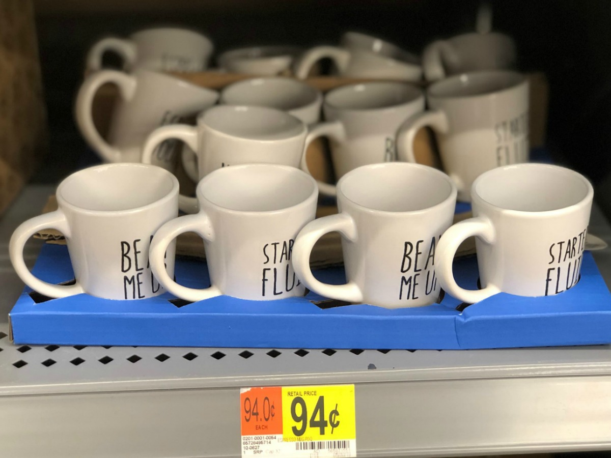 white espresso mugs with bean me up on them on a Walmart shelf