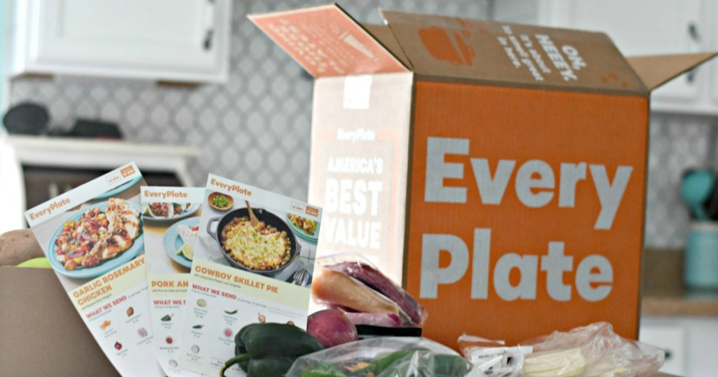 EveryPlate box and cooking ingredients