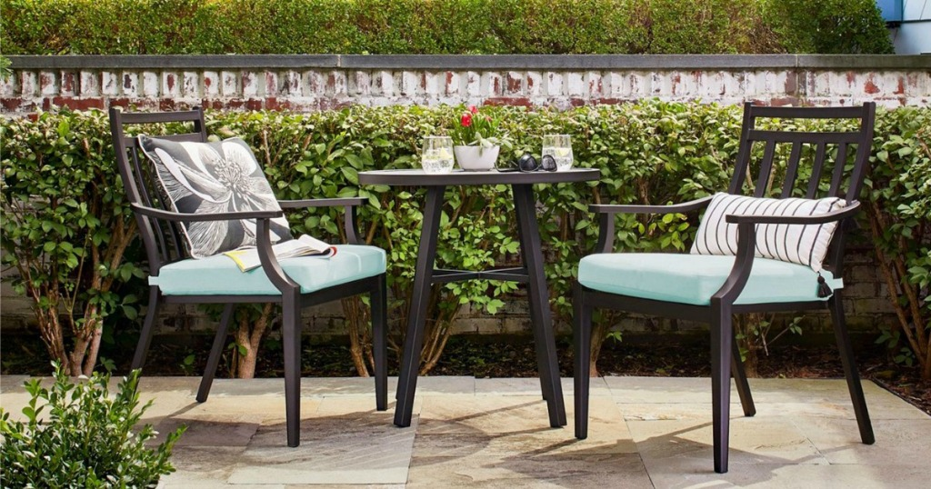 Fairmont Bistro Set in landscaped outdoor patio area