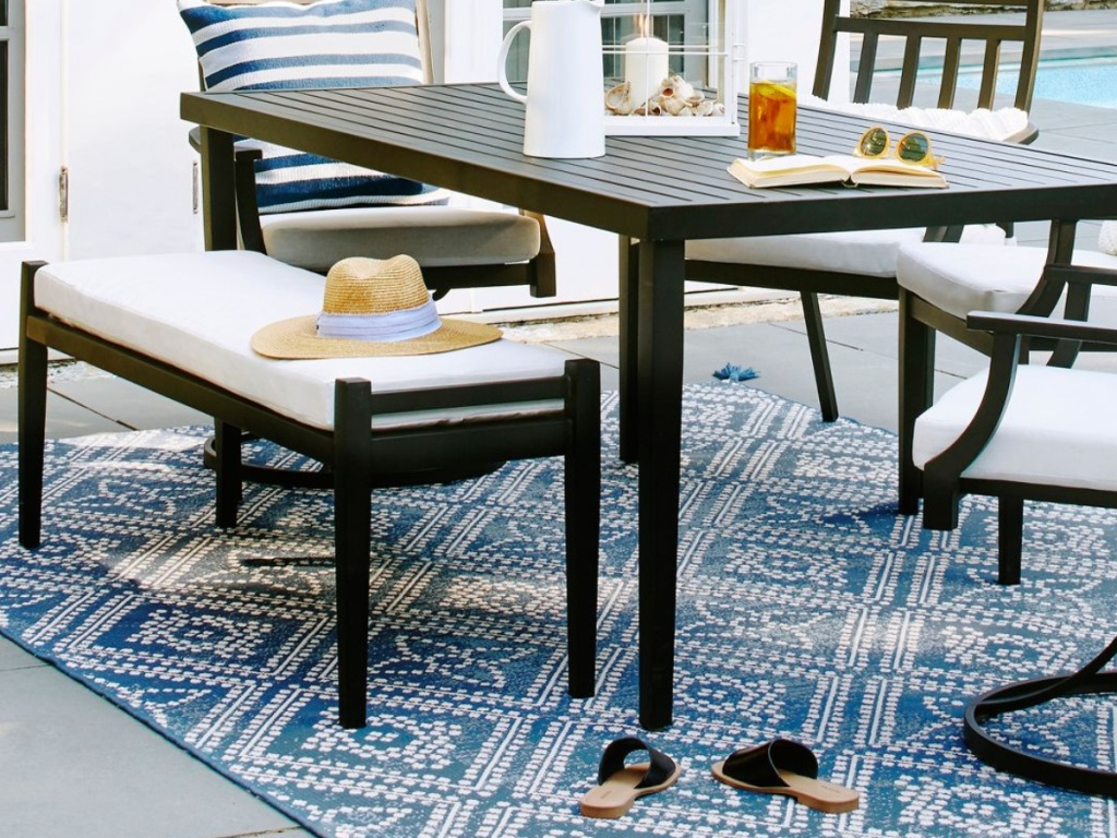 Fairmont Metal Patio Dining Bench - Linen - Threshold