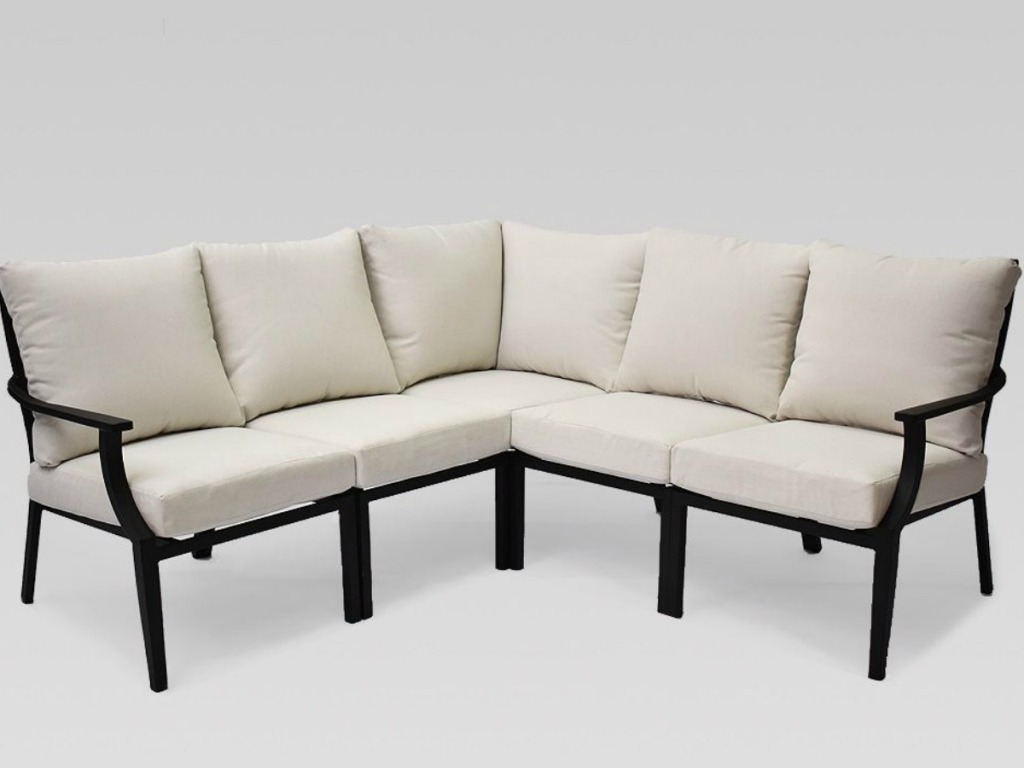 cream and black fairmont patio sectional