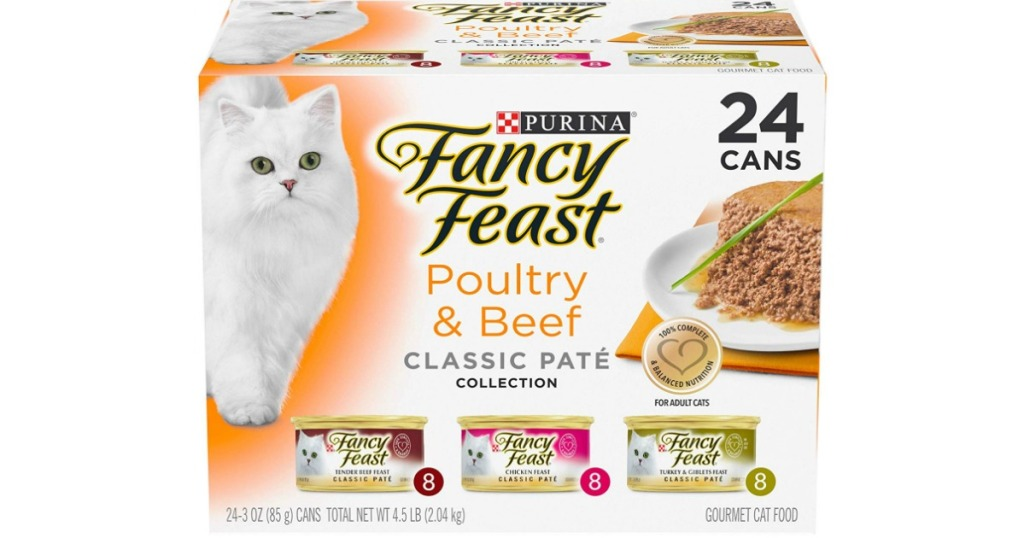 24 count box of Fancy Feast Wet Cat Food Poultry & Beef Pate Collection