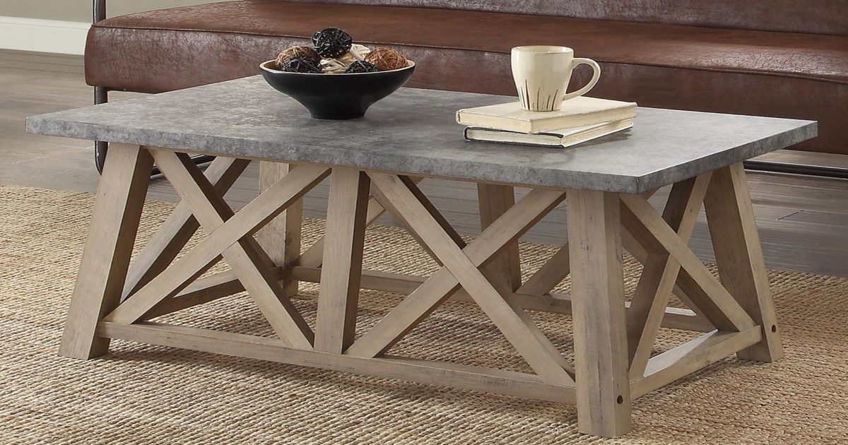 Rustic Gray, Farmhouse Style Coffee Table with bowl and cup on top