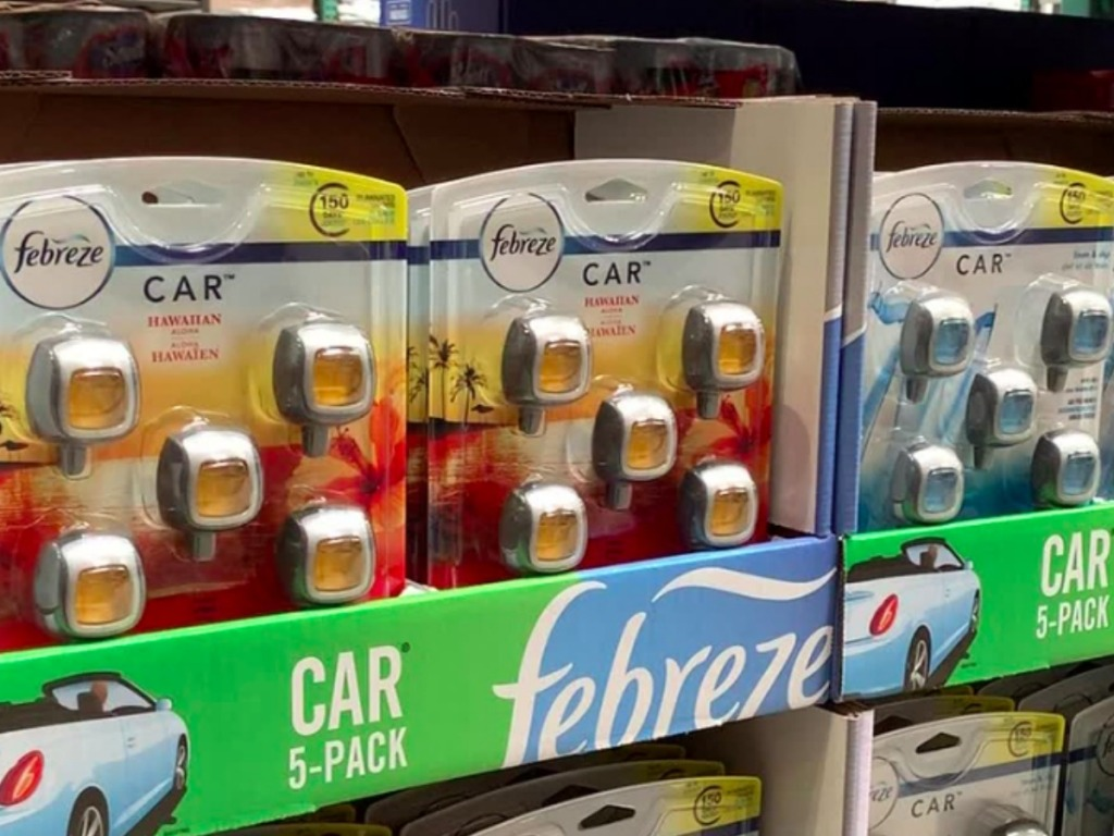 Febreze Car Vent 5-packs on shelf at Costco