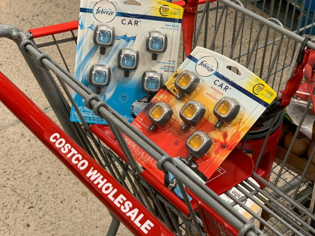 Febreze Car Vent Clips in Shopping Basket at Costco Warehouse