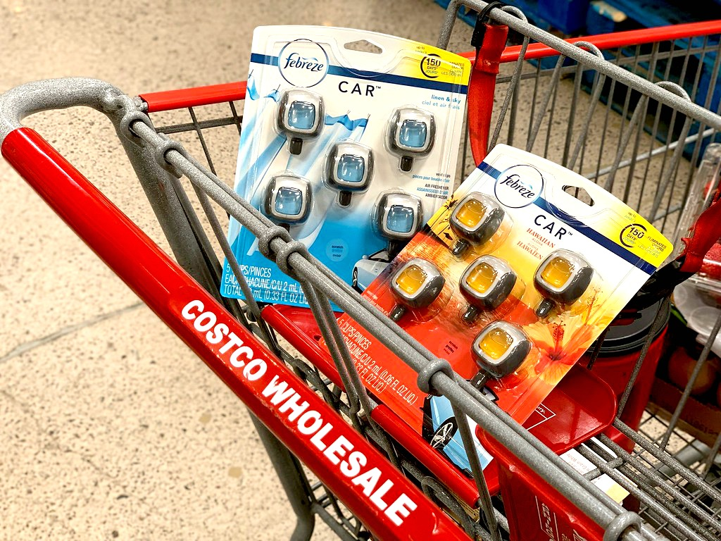 Febreze Car Vent Clips in a Costco shopping cart