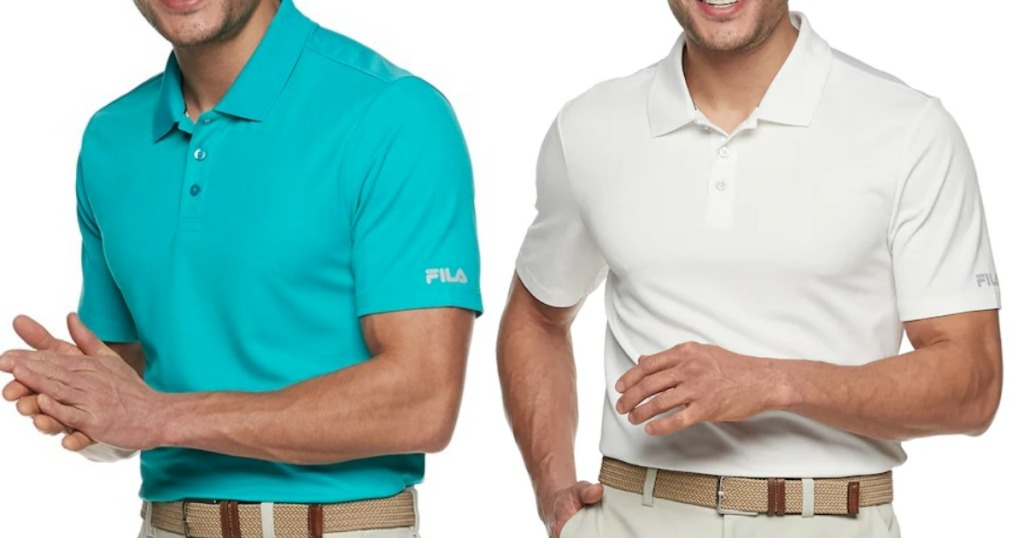 Men modeling Fila sport polo shirts in different poses.