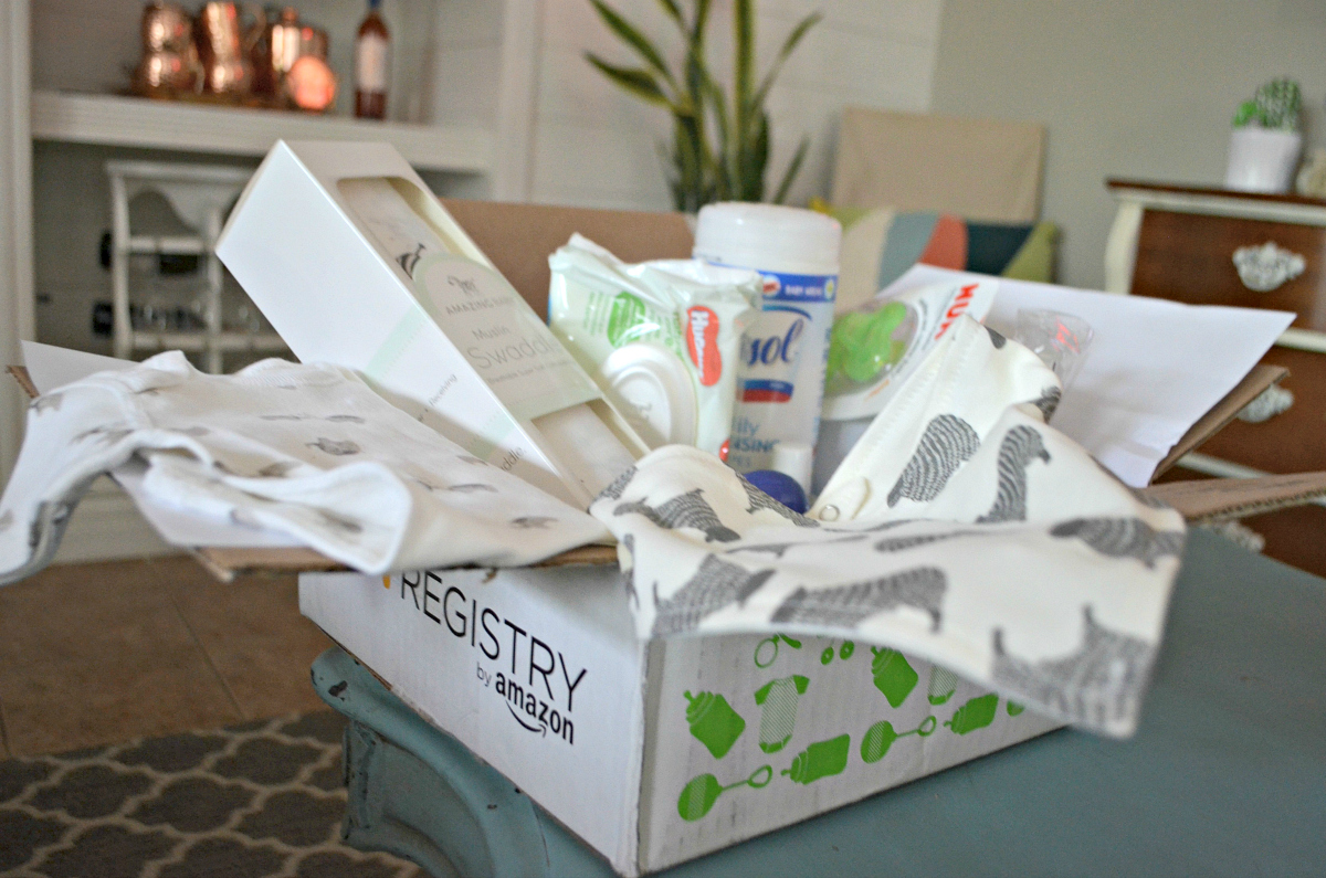 Filled Amazon Baby Registry Box sitting on counter