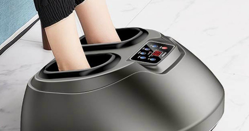 lady with her feet in a foot massager